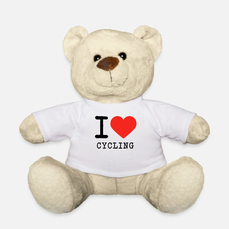 Cycling Teddy Bear Toys - I love cycling - Teddy Bear white