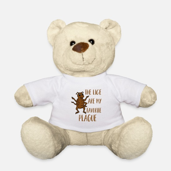 Jewish Teddy Bear Toys - The Lice are My Pavorite Plague - Pesach Passover - Teddy Bear white