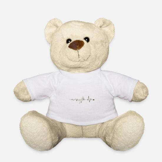 Birthday Teddy Bear Toys - Airplane heartbeat - Teddy Bear white