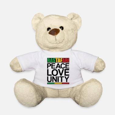 Rastafari Rastafari Peace Love Unity - Teddy Bear