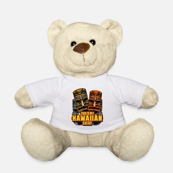 Hawaiian Teddy Bear Toys - This Is My Hawaiian Shirt Tiki Torch Luau Summer - Teddy Bear white