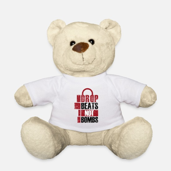 Gift Knuffeldieren - Drop Beats Not Bombs DJ cadeau idee - Teddybeer wit