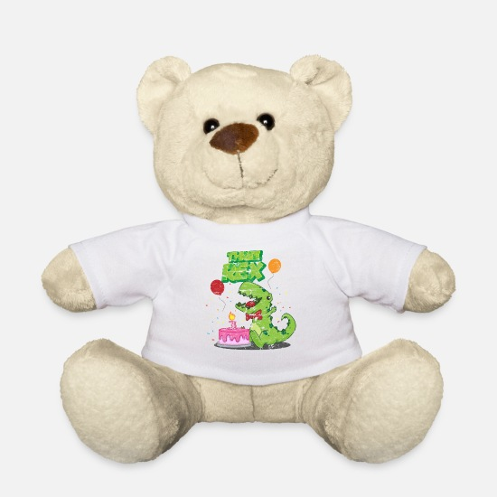 Kids Teddy Bear Toys - 3 Birthday Kids Birthday Dino - Teddy Bear white