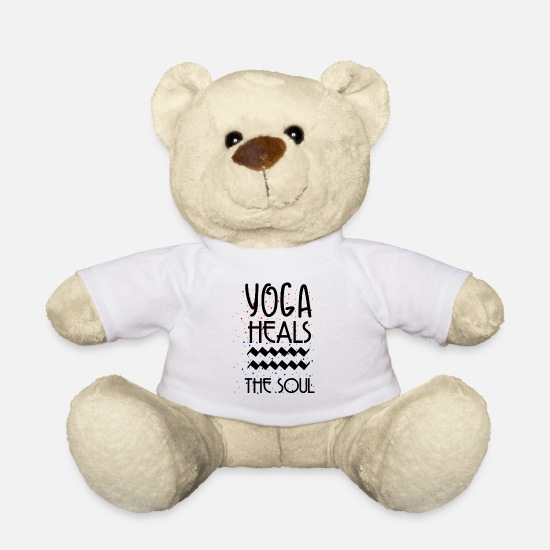 Yogi Teddy Bear Toys - YOGA HEALS THE SOUL - Teddy Bear white