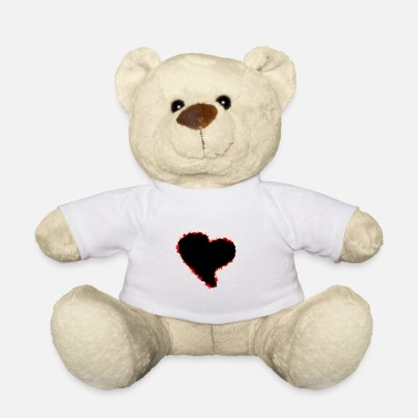 Black Heart Heart / black red heart - Teddy Bear