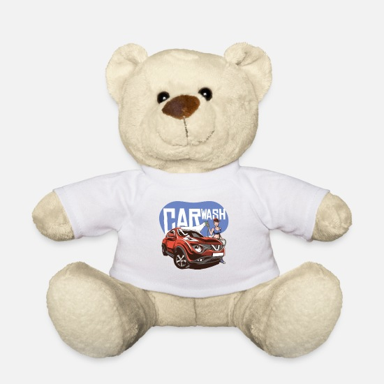 Renner Teddy Bear Toys - Car wash with cool girl and SUV - Teddy Bear white
