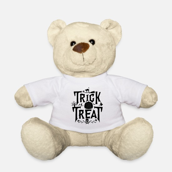 Witches Broom Teddy Bear Toys - Trick Or Treat - Teddy Bear white