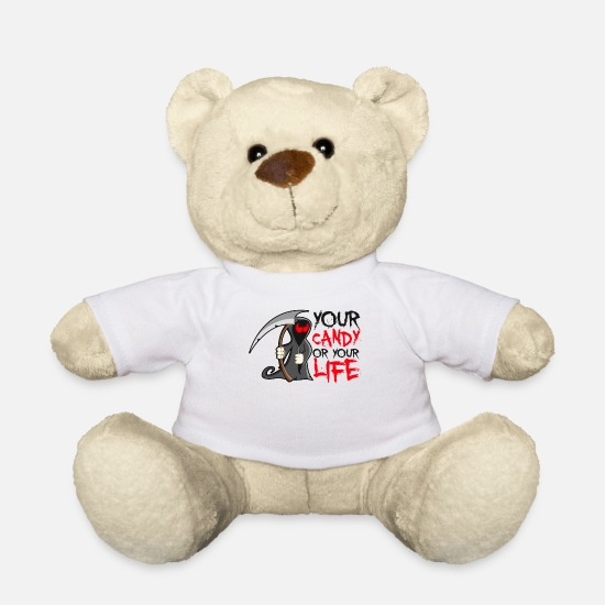 Trick Or Treat Teddy Bear Toys - Your Candy Or Your Life Reaper Halloween - Teddy Bear white