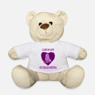 Lilac Old english shepherd in a heart - Teddy Bear
