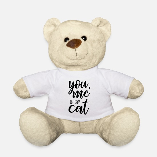 Love Teddy Bear Toys - You me and the cat - Teddy Bear white