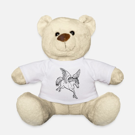 Wing Teddy Bear Toys - Proud Pegasus flying with flowing mane - Teddy Bear white