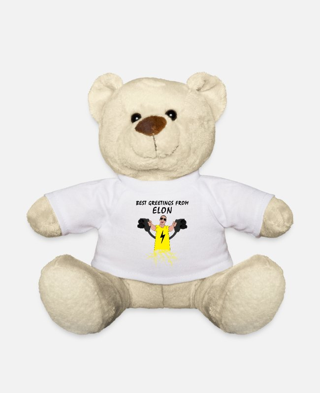 Engineer Teddy Bear Toys - Electric Car Driver Best Greetings From Elon - Teddy Bear white