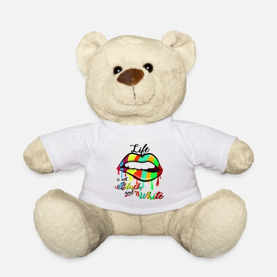 Typography Teddy Bear Toys - freedom of speech - Teddy Bear white