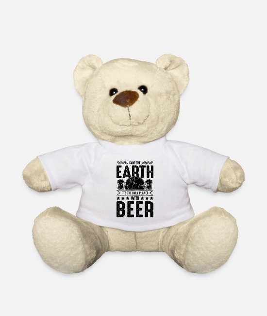 Eco Teddy Bear Toys - Beer save the earth saying funny - Teddy Bear white