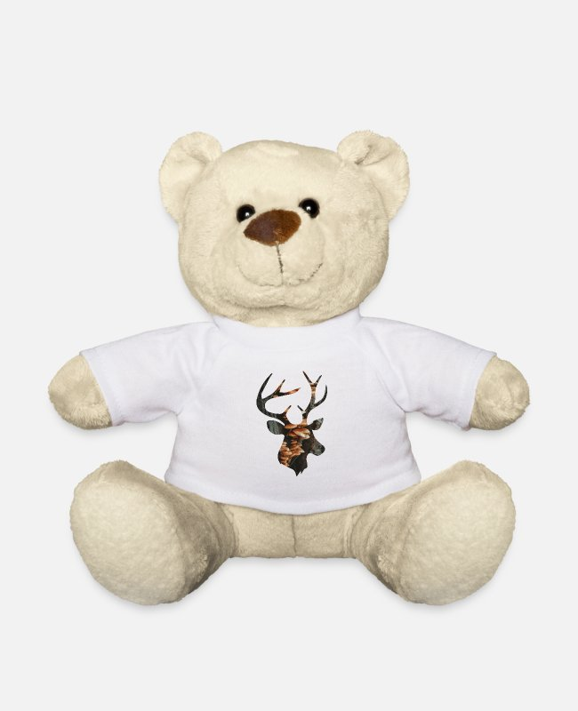 Nature Teddy Bear Toys - Deer and Mushroom - Teddy Bear white