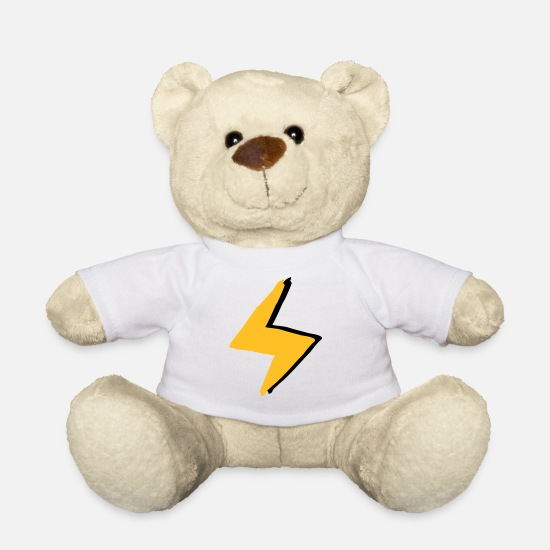 Lightning Teddy Bear Toys - Lightning with super - forces costume - Teddy Bear white