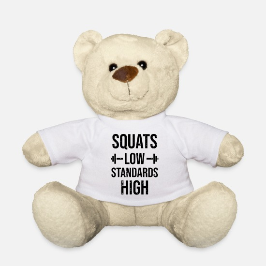 Gym Teddy Bear Toys - Gym workout funny gift for athletes - Teddy Bear white