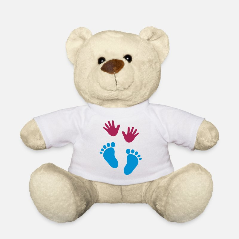 Twins Teddy Bear Toys - Baby hands and feet - Teddy Bear white