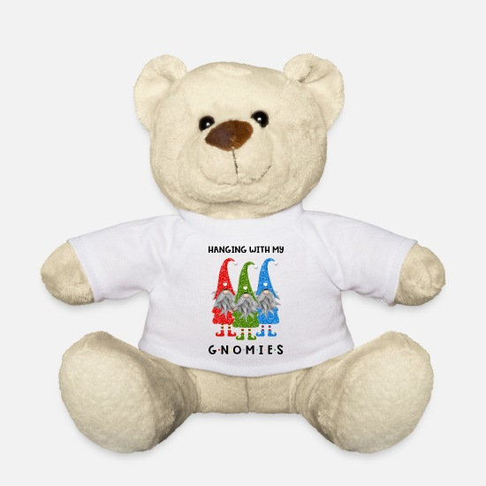 Ugly Christmas Sweater Teddy Bear Toys - Hanging With My Gnomies - Teddy Bear white