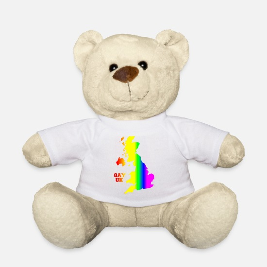 Gay Pride Teddy Bear Toys - GAY UK - Teddy Bear white