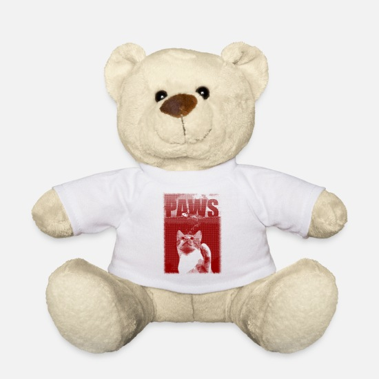 Meow Teddy Bear Toys - PAWS - Cat - Mouse - JAWS - Teddy Bear white