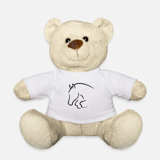 Horse Teddy Bear Toys - show jumper - Teddy Bear white