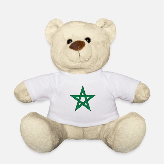 Ball Champions Moroccan Winner Europa Flags Horny Teddy Bear Toys - morocco africa country - Teddy Bear white