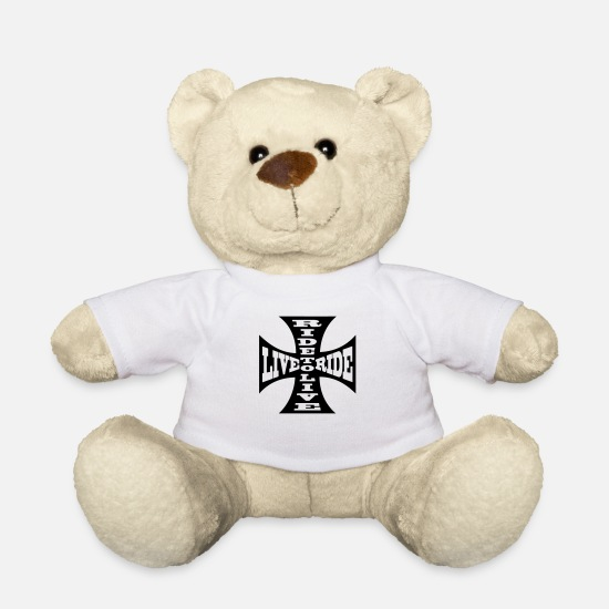 Biker Teddy Bear Toys - ride to live live to ride - Teddy Bear white