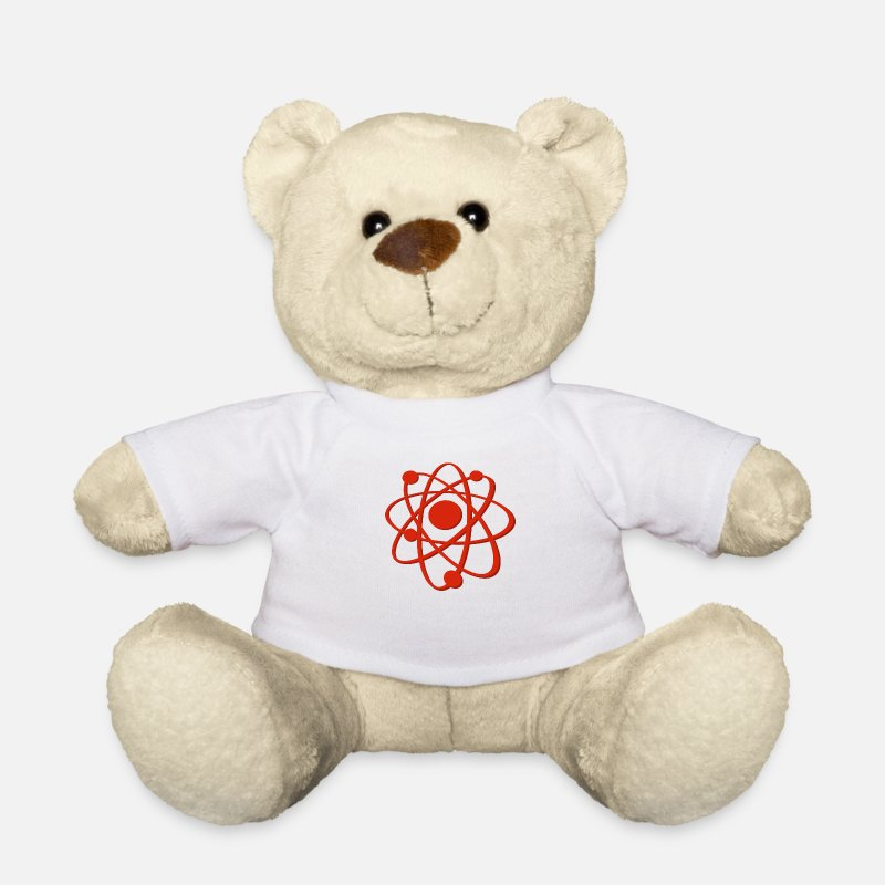 Red Teddy Bear Toys - Atom red - Teddy Bear white