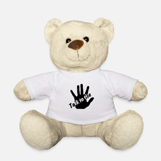 Miscellaneous Teddy Bear Toys - Talk to the hand - Teddy Bear white