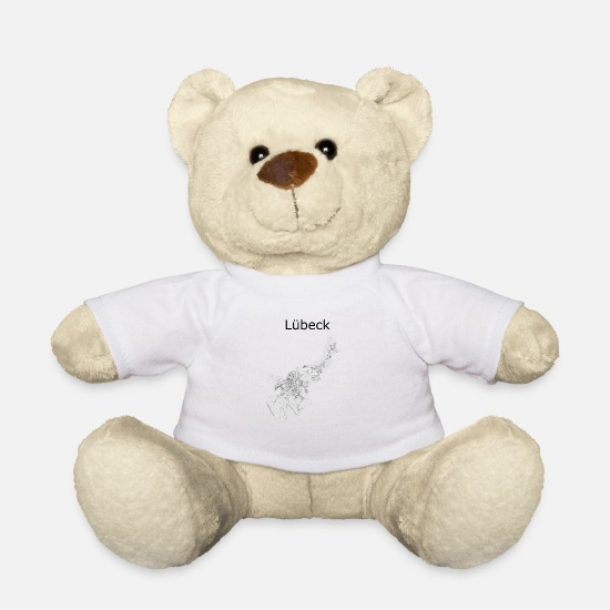 Hanse Teddy Bear Toys - Stylized street map Lübeck - Teddy Bear white