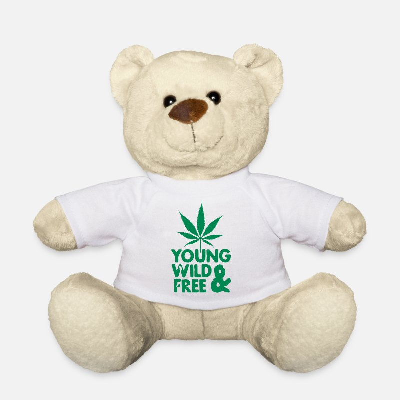 Hip Hop Peluches - young wild and free weed leaf - Ours en peluche blanc