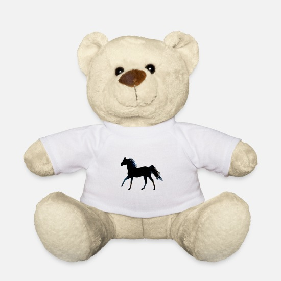 Horse Teddy Bear Toys - Cute horse with blue mane - Teddy Bear white