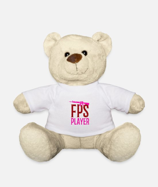 Gun Teddy Bear Toys - FPS Player First Person Shooter Ego Shooter Gaming - Teddy Bear white
