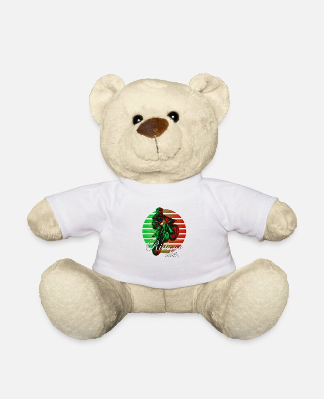 Biker Teddy Bear Toys - Motocross Ride or Die Artwork - Teddy Bear white