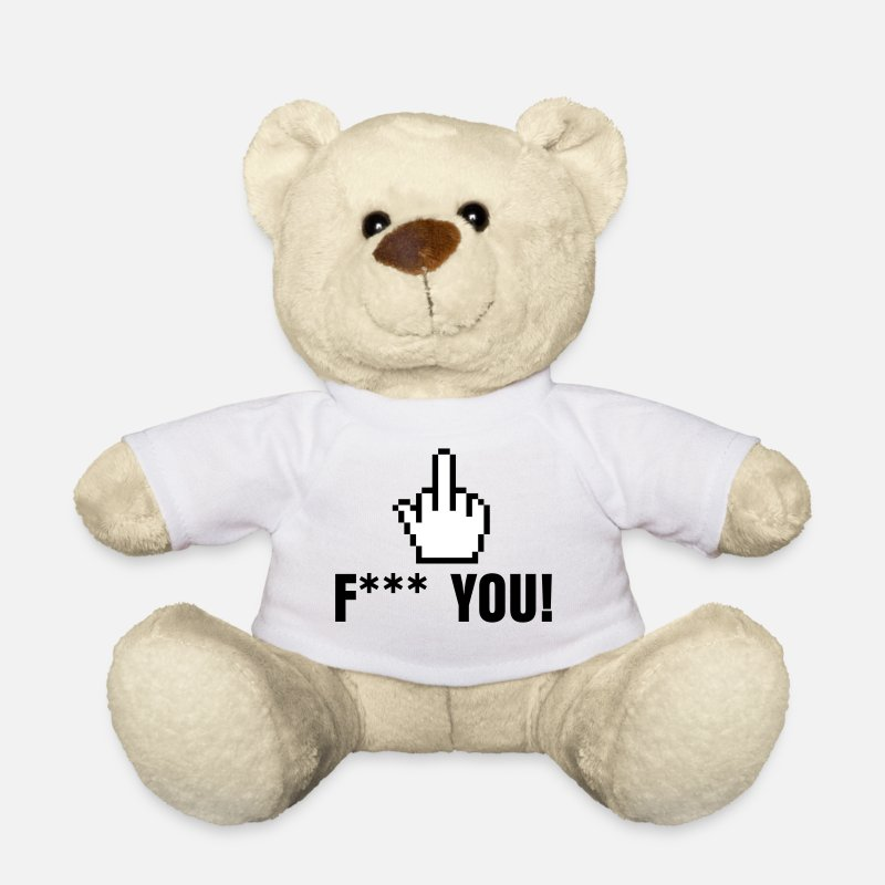 Fuck You Teddy Bear Toys - stinkefinger - fuck you - pointer hand fuck yourself - Teddy Bear white