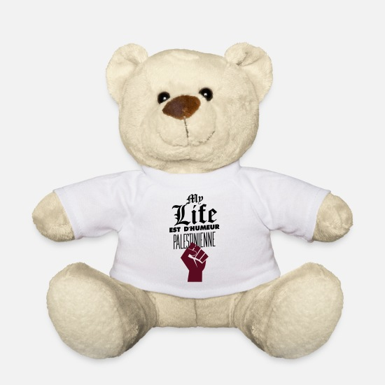Booba Peluches - My life est d'humeur palestinienne - Ours en peluche blanc