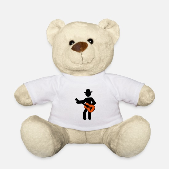 Country Teddy Bear Toys - cowboy guitar - Teddy Bear white