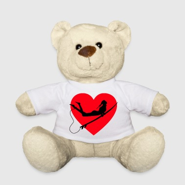 Surfer riding surfing with heart and surf board - Teddy Bear