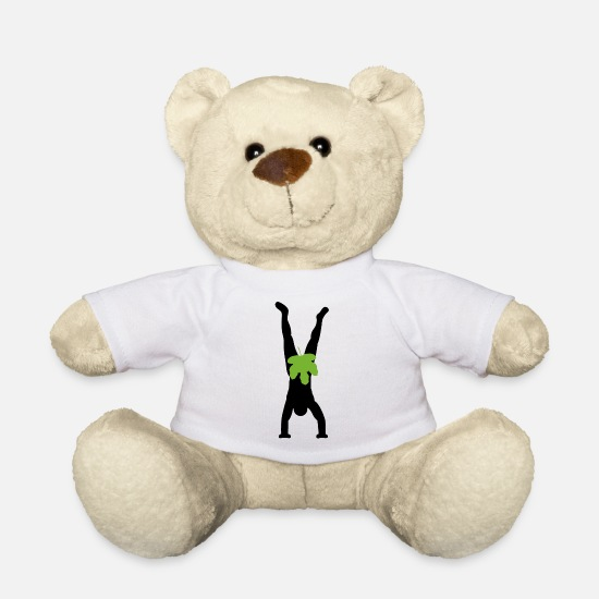 Tree Teddy Bear Toys - Adam does handstand - Teddy Bear white