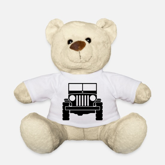 V8 Teddy Bear Toys - Jeep - SUV - Teddy Bear white