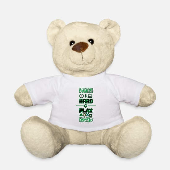 Play Teddy Bear Toys - Work Hard Play Hard - Teddy Bear white