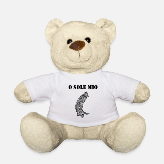 Meow Teddy Bear Toys - Cat Sings O Sole Mio Funny sayings french - Teddy Bear white
