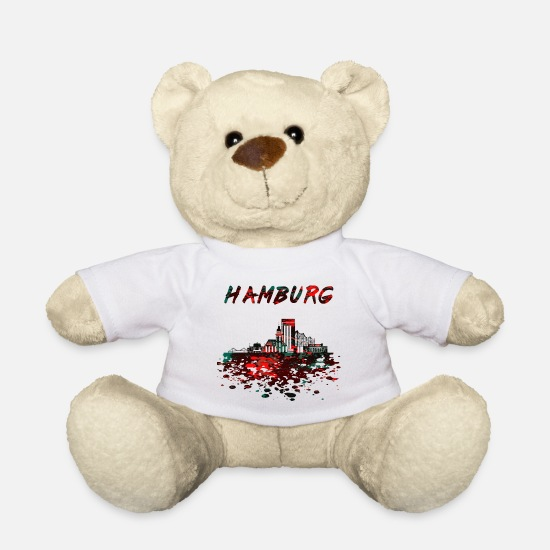Pauli Teddy Bear Toys - Hamburg Skyline / Hanseatic city Kietz Elbe Reeperbahn - Teddy Bear white
