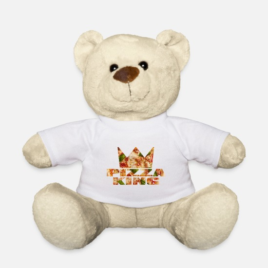 Birthday Teddy Bear Toys - PIZZA KING gift gift idea italy - Teddy Bear white