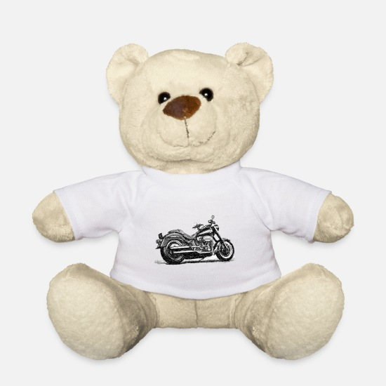 Motorcycle Teddy Bear Toys - Chopper Sketch - Teddy Bear white