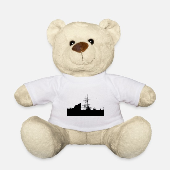 Harbour Teddy Bear Toys - Hamburg silhouette - Teddy Bear white