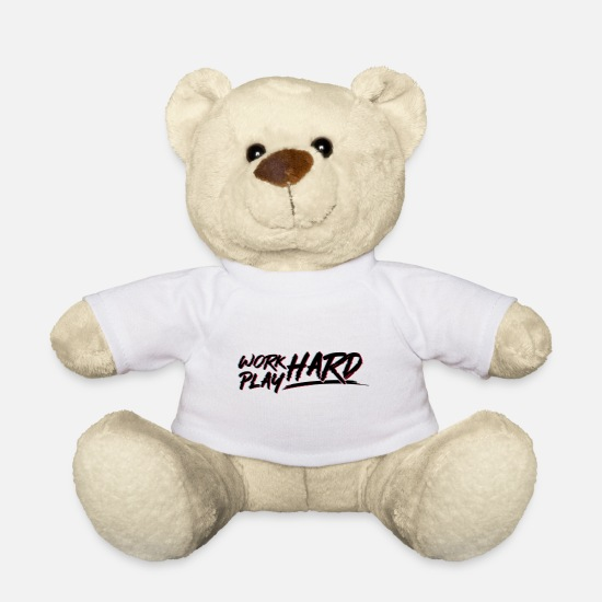Play Teddy Bear Toys - Work Hard Play Hard Glitch - Teddy Bear white