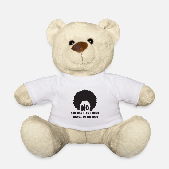 Hair Teddy Bear Toys - Afro hair funny text - Teddy Bear white