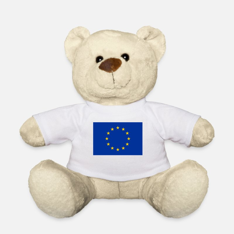 European Union Teddy Bear Toys - European Union Flag - Teddy Bear white